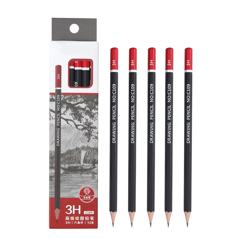 Sketch pencil HB 2B 3B 4B 5B 6B 8B 10B 2H 3H Soft medium hard carbon pen Office school drawing pencil in Standard Pencils from Office School Supplies