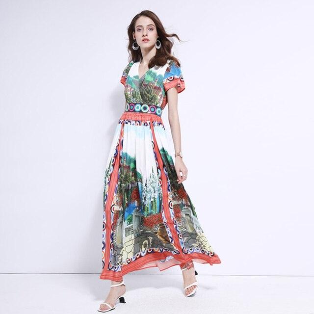 5e8dea761ef53 US $77.99 |Aliexpress.com : Buy HIGH QUALITY Runway 2019 Stylish Designer  Dress Women's Short Sleeve V neck Retro Print Maxi Long Dress from Reliable  ...