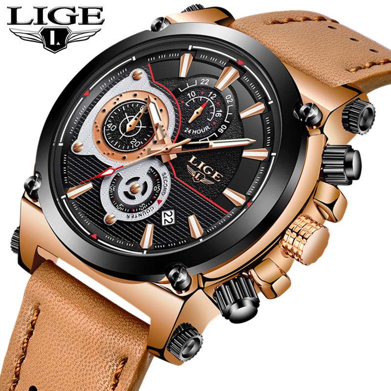 LIGE Mens Watches Top Brand Luxury Waterproof Quartz Watch Men Leather Strap Casual Military Sports Watches Relogio Masculino kezzi men watches sports waterproof quartz watch luxury brands leather strap watches wristwatches relogio masculino relojes