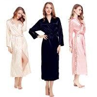 Phụ nữ Mùa Thu Dài Áo Sexy Lụa Satin Đêm Robe Ren Kimono Áo Choàng Áo Choàng Rắn Choàng Tắm Dài Tay Áo Bath Robe Thời Trang Mặc Quần Áo Gown