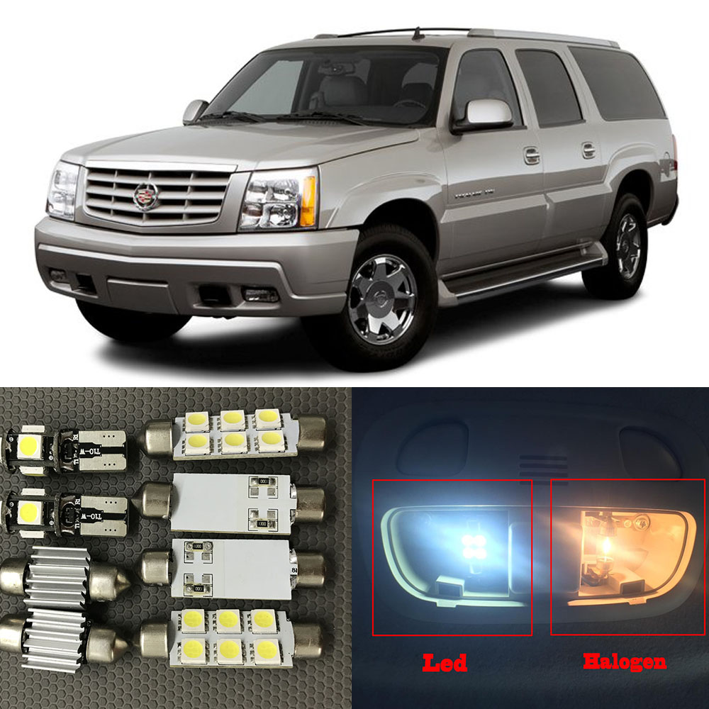 15pc Auto Interior LED Lights Bulb White Kit For 2002-2006 Cadillac Escalade Map Dome Trunk License Plate Lamp 12V Car Styling 1pc car styling led 12v dc led white lights dome reading footwell glove box trunk license number plate lamps auto accessories