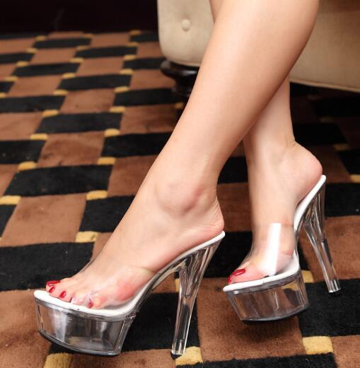 Transparent High Heels Platform Sandals Slipper Sexy Women Summer Shoes PVC Waterproof Jelly Shoes Slapping 13cm 15cm-in Slippers from Shoes    1