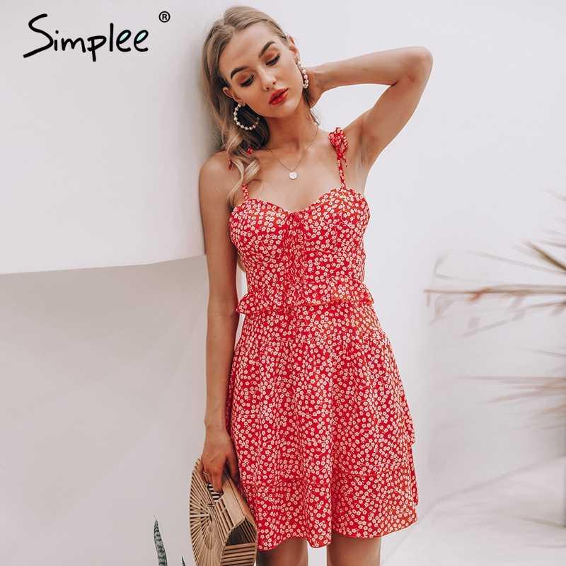 Летнее женское платье Simplee без рукавов, мини-платье с цветочным принтом 2019, с оборками и высокой талией на шнуровке, пляжное платье бохо