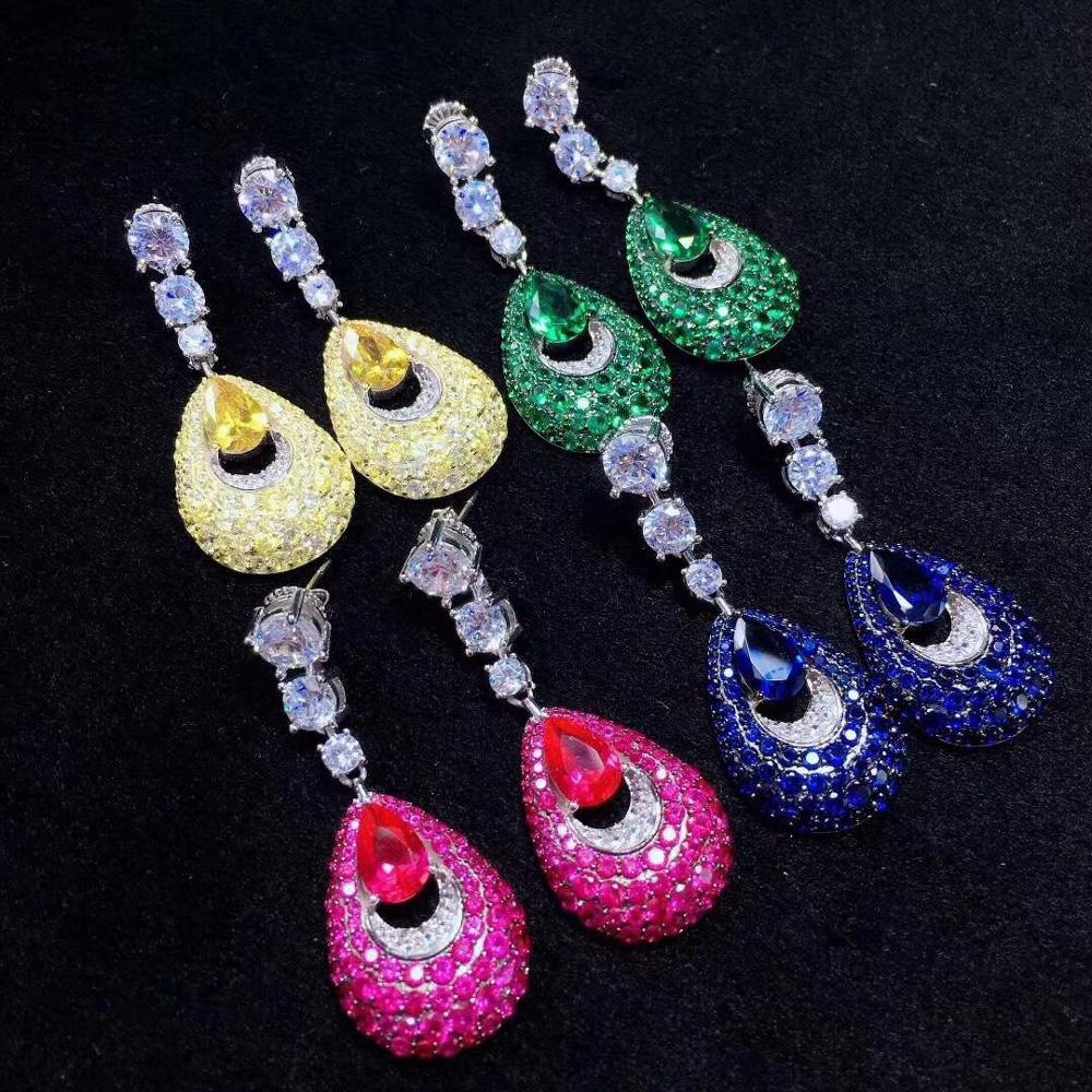 feather of peacock shape water drop shape drop earring 925 sterling silver with cubic zircon green yellow blue rose red color