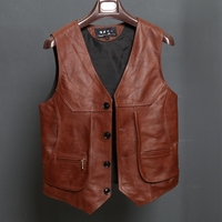 BONJEAN New Arrival Leather Motorcycle Vest Mens Slim Fit Real Brown Cow Genuine Leather Waistcoat Bikers Vest Size L 8XL
