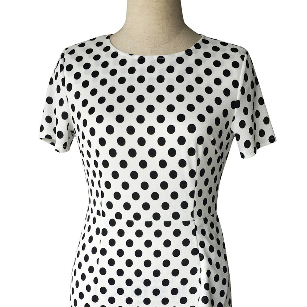 Retro Polka Dot Slim Tunic Dress