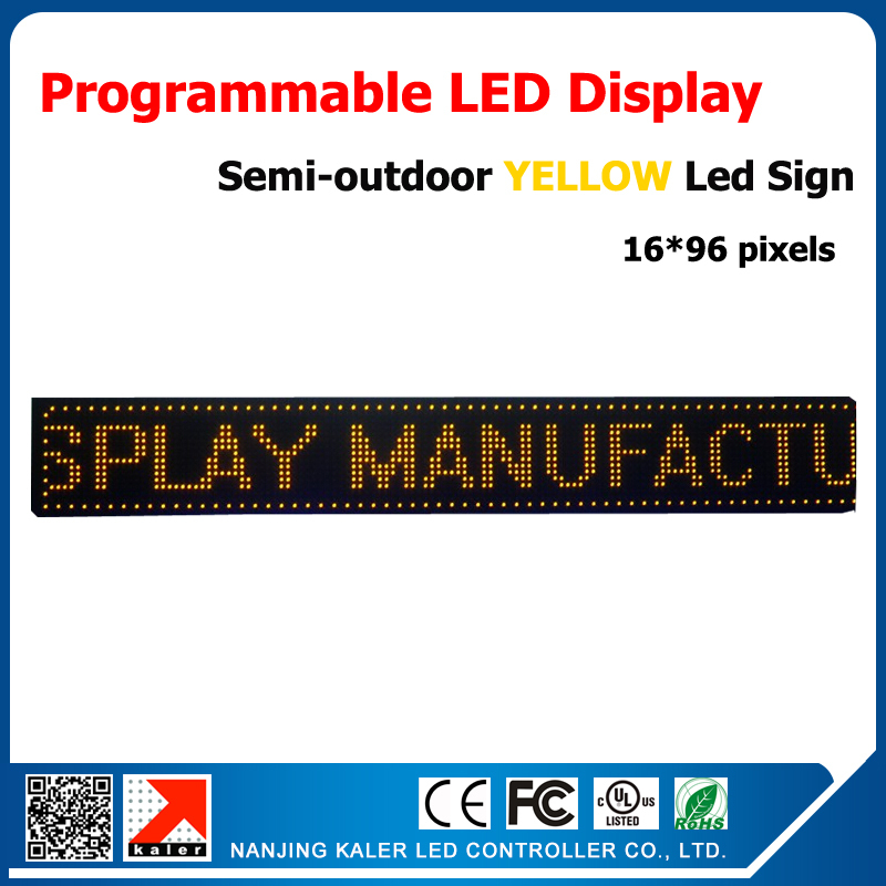 P10 LED Module 1/4 Scan 16*96 Pixels 10x41inches Led Billboard Moving Sign Text Yellow Led Semi-outdoor