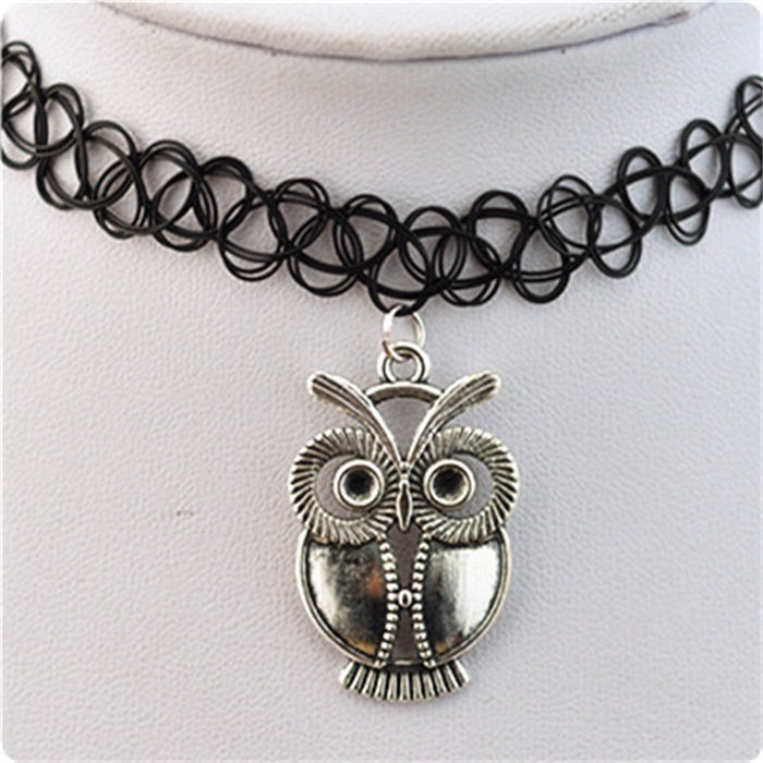 10 PCS Gils gifts Lasted jewelry black Lace Long Leather Chain with owl shaped charms co ...