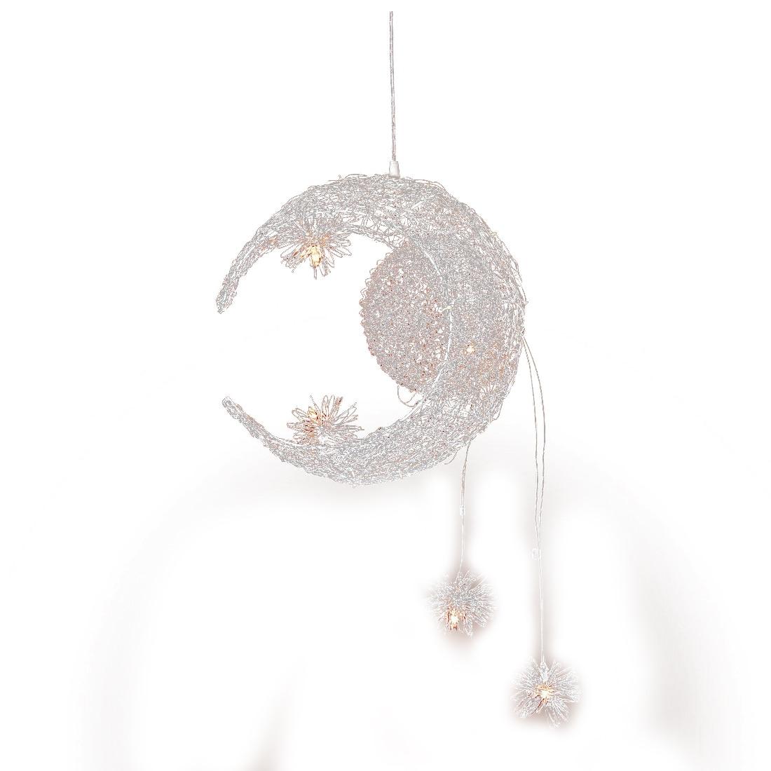 Moon & Star Sweet Bedroom Lighting Pendant Lamp Chandelier Ceiling Light Fixture handmade modern aluminum moon star pendant light lamp for kid children room bedroom lustres decorative fixture lighting pll 625