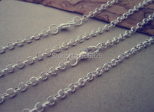 цена на 50pcs/lot  65cm Silver color round shape Link chain 3mmx3mm With Lobster Clasp