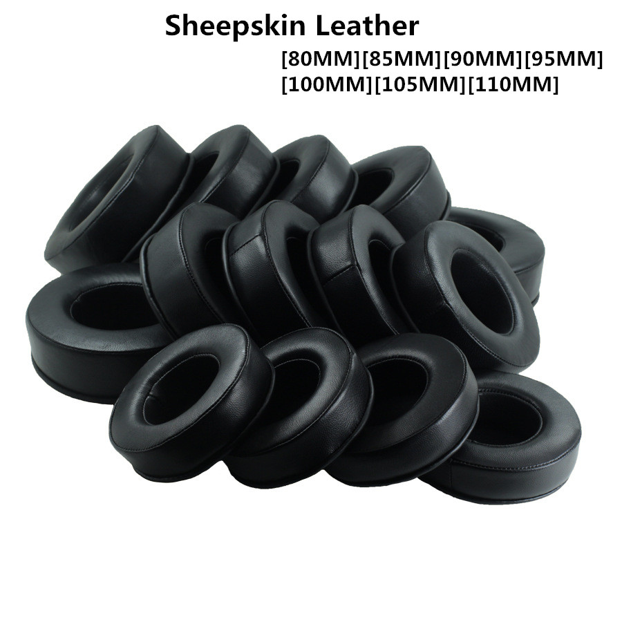 Sheepskin Leather 80MM 85MM 90MM 95-110MM <font><b>Replacement</b></font> Memory Foam Earpads for Headphones <font><b>Ear</b></font> <font><b>Pads</b></font> Cushions High Quality 11.7 image