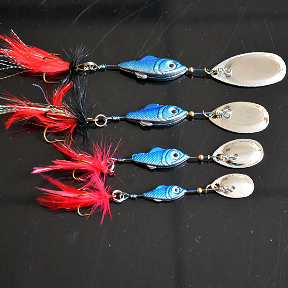Spinner приманки Рыболовные приманки рыбалка PESCA искусственные приманки металла Bionic рыболовный крючок Рыбалка снасти Ложка повернуть блестки перья