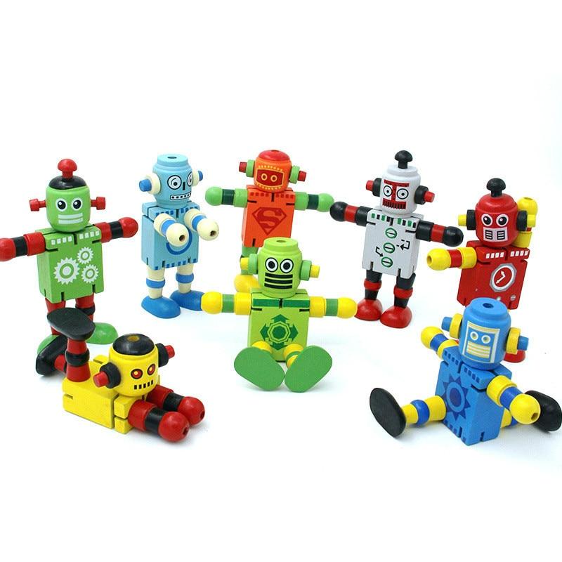 Новые деревянные роботы фигурку Игрушечные лошадки Форма изменить Дети Образование развития интеллекта подарки на день рождения Модель Иг...