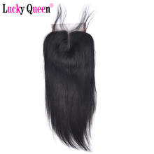 Brazilian Straight 4*4 Human Hair Lace Closure with Baby Hair 130% Density Swiss Lace Middle Part Lucky Queen Hair Products
