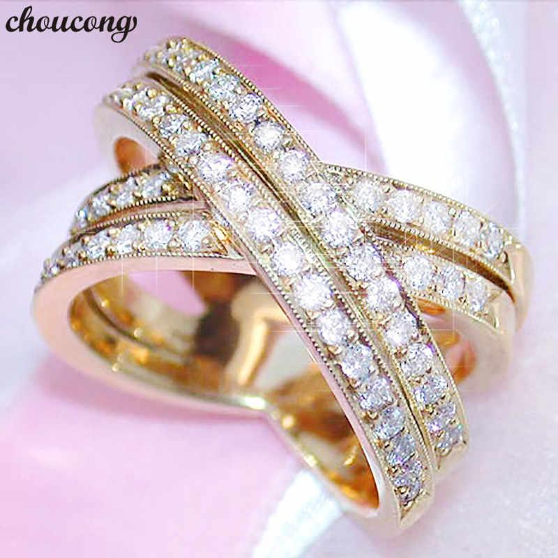 Choucong แหวนทองคำขาว Pave ชุด AAAAA Zircon CZ วงแหวนสำหรับเจ้าสาวเครื่องประดับ