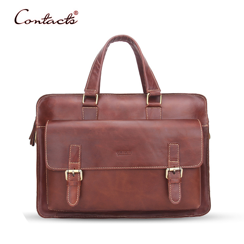 CONTACT'S Men Genuine Leather Handbag Crossbody Messenger Bags Vintage Shoulder Bag Tote Briefcase Male 2017 New Brand Hot Sale xiyuan genuine leather handbag men messenger bags male briefcase handbags man laptop bags portfolio shoulder crossbody bag brown