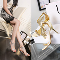 New arrival silver/gold women's fashion rhinestone sandals 9cm heel party shoes wedding sandals free shipping