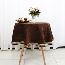 Latest High End Lace Geometry Table Cloth for Round Coffee European Velvet Fabric Dining Protection Cover
