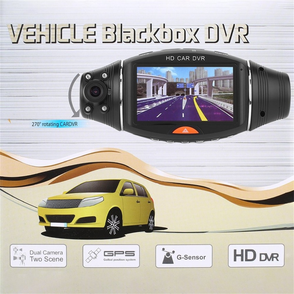 2.7 Inches Dual Lens HD Car DVR Recorder GPS Tracker HD 1080P Camcorder Night Vision DVR Recorder Dash Cam Video Recorder
