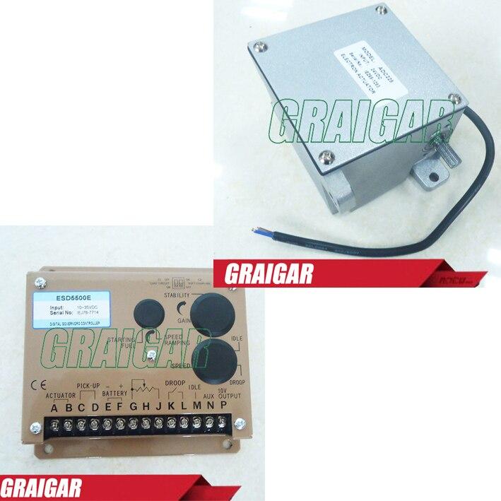 1PC Speed Controller ESD5500E with 1pc ADC225 Generator Actuator (12v or 24V) esd5500e series speed governor with generator actuator adc225 12v or 24v adc225 12 and speed sensor 3034572