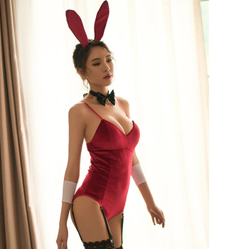 Sexy Lingerie Christmas Role Play Bunny Girl Rabbit Uniform Limitation Cosplay Erotic Halloween Costumes - discount item  20% OFF Costumes & Accessories