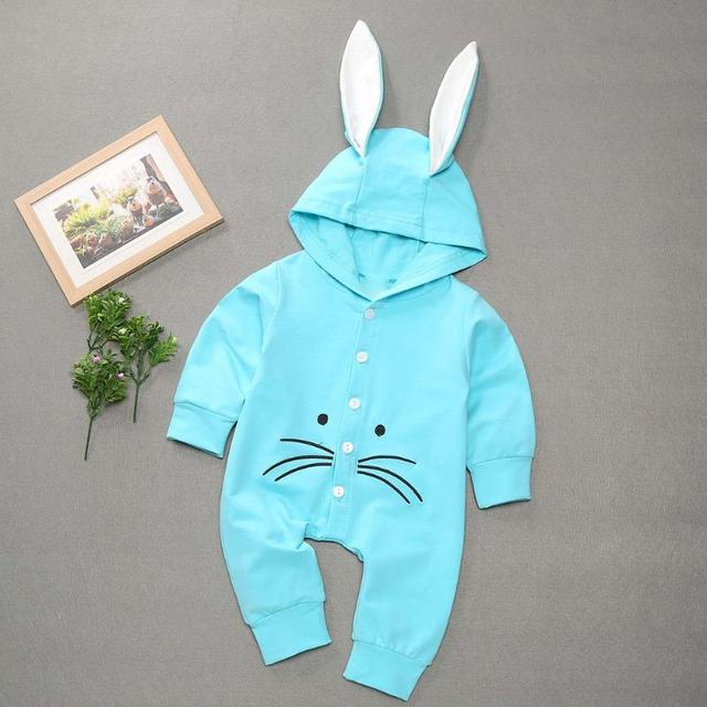 Newborns Boys Girls Outfits Jumpsuit Cute Long Ear Rabbit Baby Rompers Long Sleeved Coveralls Winter Warm Boys Girls Playsuit