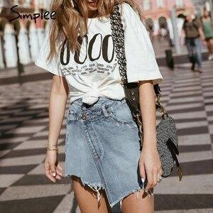 Image 2 - Simplee Elegant denim skirt women Summer casual streetwear short mini skirt female Solid button high waist ladies skirts