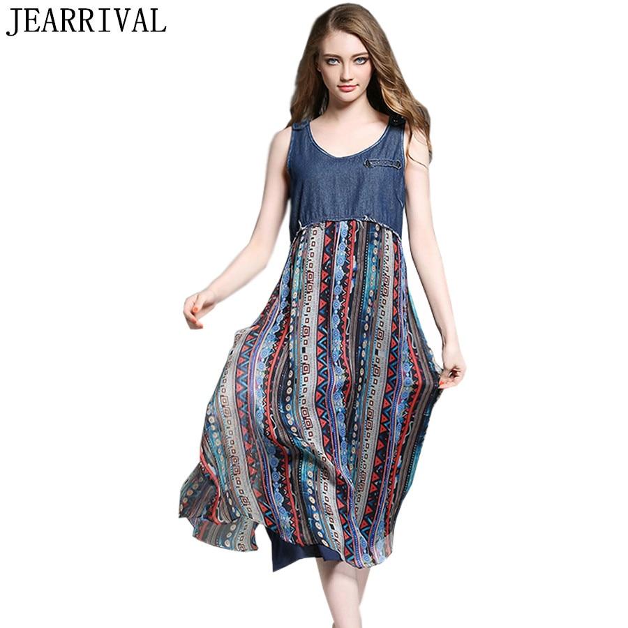 2018 New Summer Fashion Denim Patchwork Chiffon Dress ...