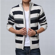 2017 New 100% Cotton Thicken Fleece Sweater Men Striped Winter Cardigan Fashion Warm Knitted Sweater Coat Winter Clothing