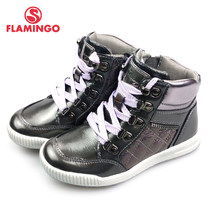 FLAMINGO Autumn Bright Leather Anti-slip Warm Boots High Quality Kids Brand Girls Shoes Size 27-32 free shipping 82B-XY-1003(China)