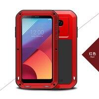 LOVE MEI Aluminum Metal Armor sFor LG G6 Case funda + Gorilla Glass Shockproof Silicone Cover Full Phone Case sFor LG G6 Cover
