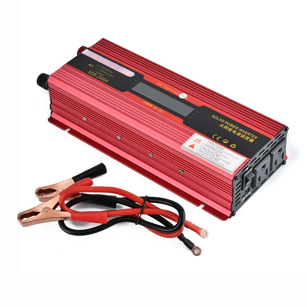 Solar Power Car Inverter LCD Display DC12V to AC 110V Power Supply Outlet Power Inverter Modified Sine Wave Peak PFeatower 2000W