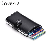 Europe US Men Credit Card Holder High Quality Leather Aluminum Alloy Business ID Card Holder Multifunction