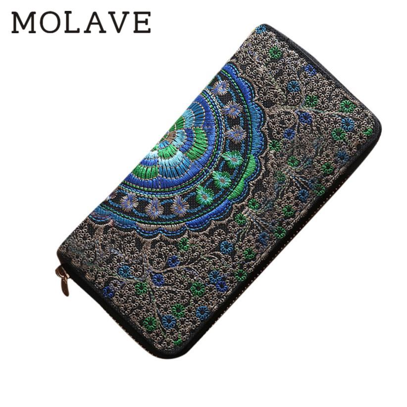 MOLAVE	wallets wallet female Solid	card holder Zipper Fashion Women Oxford Embroidery Road Coin Bag Purse Phone Bag Feb23