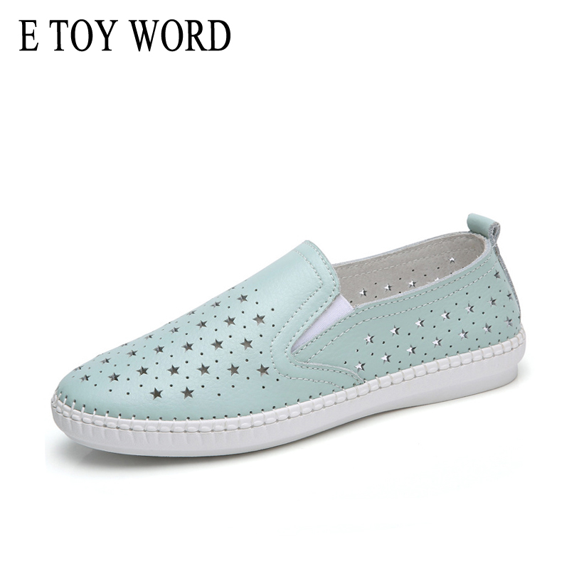 E TOY WORD 2018 New Summer Shoes Woman Genuine Leather Flats Women Shoes Slip On Womens loafers Solid Cut-Outs Casual shoes
