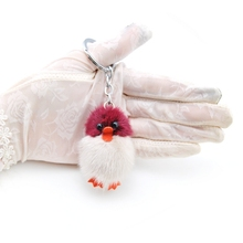 цена на Genuine Mink Fur Pompom Duck Keychain Women Cute Fluffy Pompon Chick Key chain Holder Pom Pom Toy Doll Keyring Bag Charm Trinket