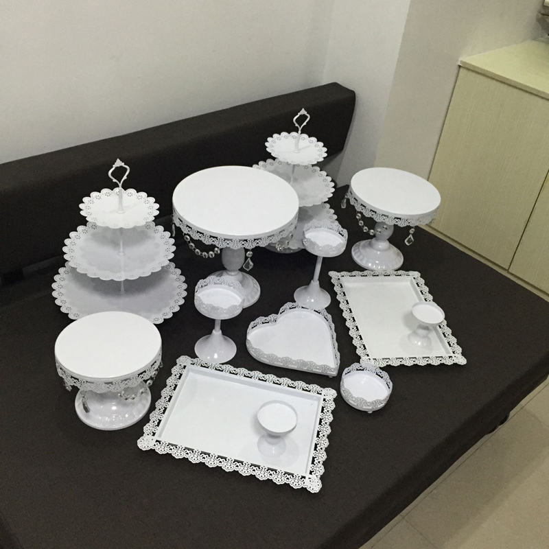 13pieces gold white Iron metal cake stand set wedding party plate birthday party cake decoration tools bakeware dinnerware in Stands from Home Garden