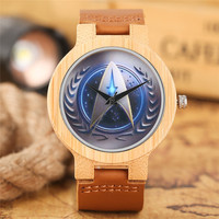 Sport Simple Luxury Nature Bangle Men Trendy Genuine Leather Band Strap Wrist Watch Cool Bamboo Star