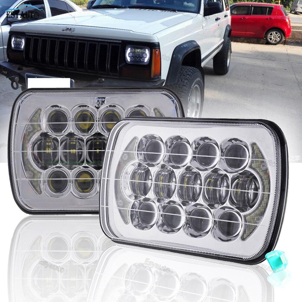 2 Вт шт. дюймов светодио дный светодиодные фары 85 Вт 5 x 7 Грузовик 7 x 6 квадратные огни морсветодио дный Здравствуйте/Lo луч точка для Jeep Wrangler