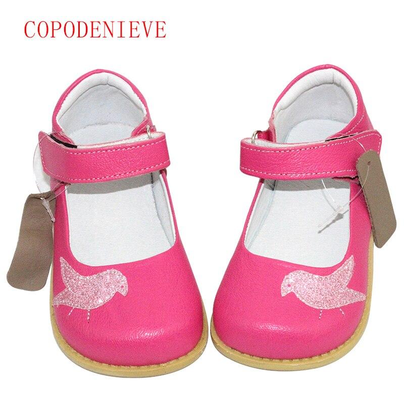 COPODENIEVE los zapatos del cuero genuino de los niños de cuero genuino niños planos ocasionales zapatillas Niño niños pájaro