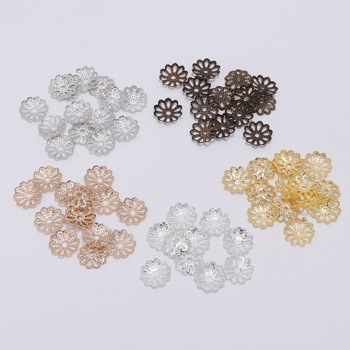 20x Flower Metal Tibetan Style Loose Spacer Flat Bead Caps End Cap DIY Jewelry