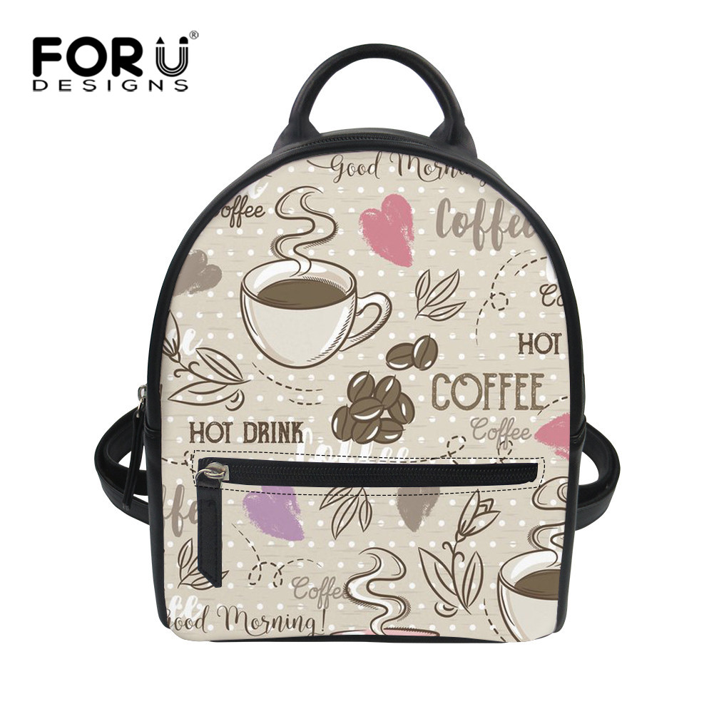 FORUDESIGNS Korean Cute Coffee Design Woman PU Backpacks Daily HOT DRINK Printing Small Girls Schoolbags Back Pack for Daily