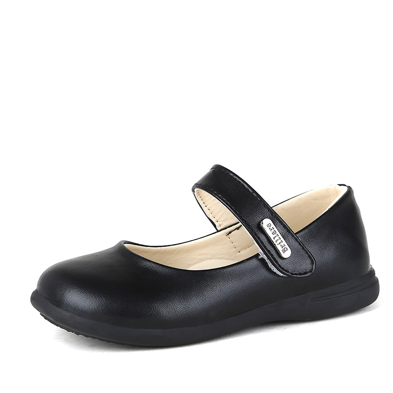 Girls Dance Shoes Black PU Leather Dress Wedding Shoes Children Princess Student Shoe Baby Girl Brand Flats