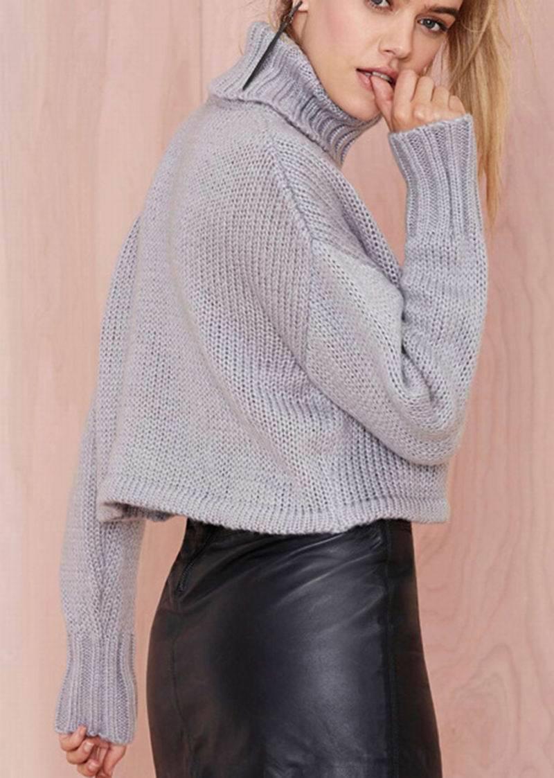 Online Shop HAODUOYI Women Sweater Turtleneck Grey Loose Dropped ...