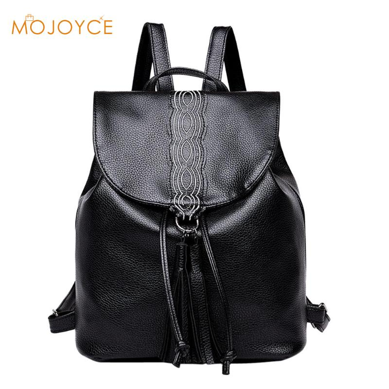 Casual PU Leather Tassels Backpack Women Shoulder Bags School Bag for Teenagers Girls High Quality Soild female Travel Backpack new gravity falls backpack casual backpacks teenagers school bag men women s student school bags travel shoulder bag laptop bags