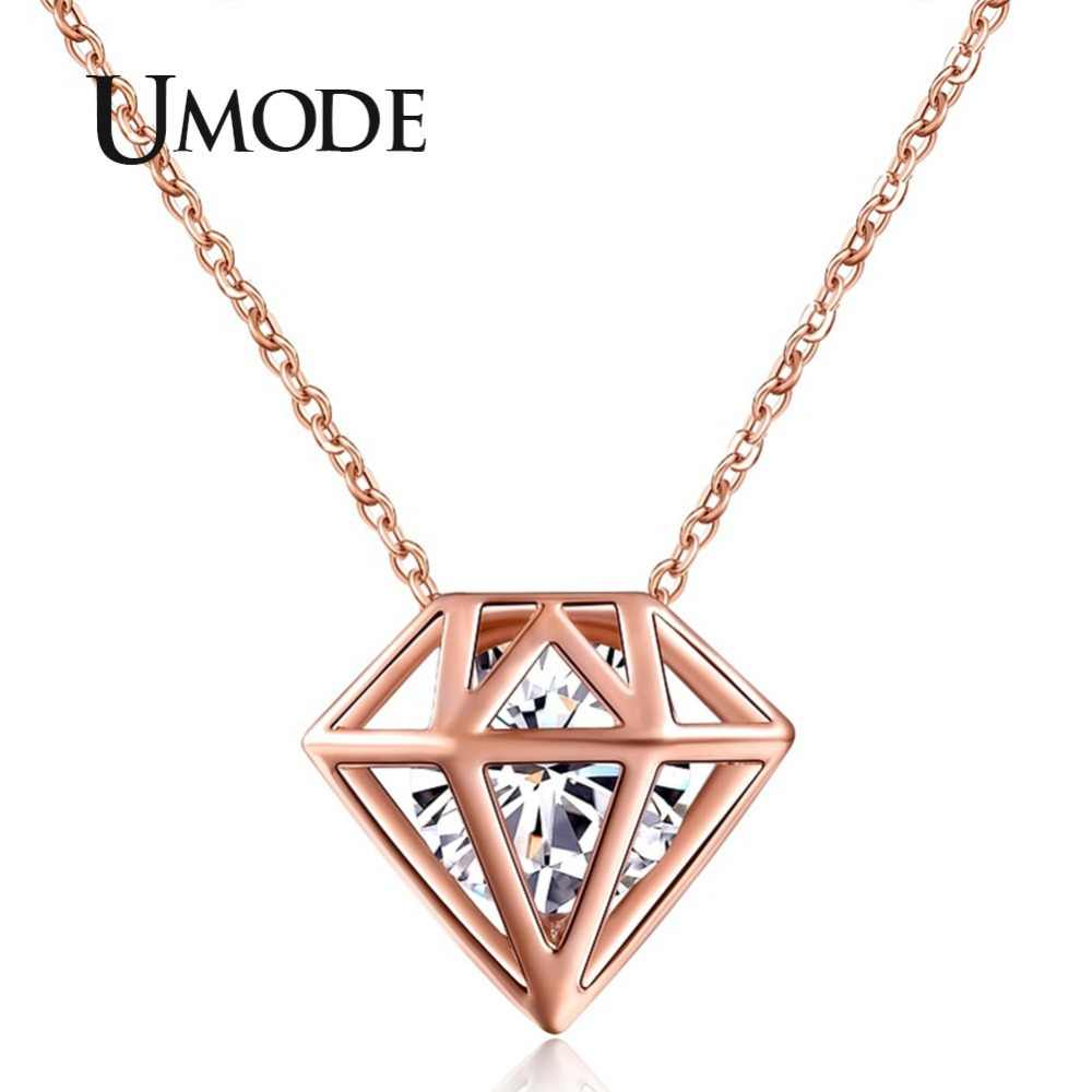 UMODE Hollow Star-shaped With a Brilliant Cut Cubic Zirconia Stone Necklaces Rose Gold color Accesorios Mujer Jewelry UN0115A