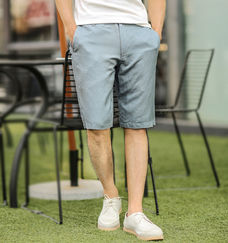 Fashion Men Short Pants Solid Color Loose Casual Knee Length Pantsa Candy Color Cotton Linen Breathable Summer Board Shorts Men's Clothing