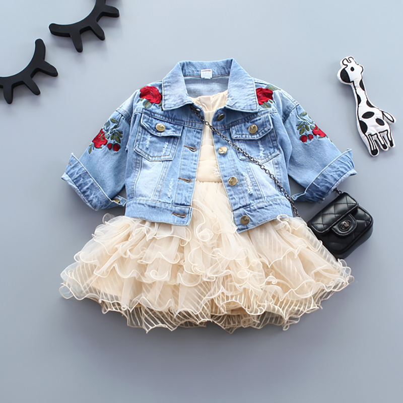 Infant Baby Girls Jeans Jacket Flower Embroidery Vintage Kids Denim Coat For Girls Clothes Spring Autumn Children Outerwear Coat scratch kids girls outerwear denim jeans jackets for children embroidery flower baby girl coats infant autumn clothing outfits