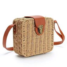 Multi-color Summer Women Handmade Round Bamboo Handbags Rattan Bags Box Bali Bohemian Beach Totes handbags Knitting Straw Bag