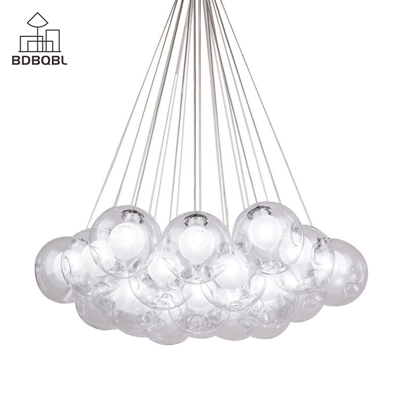 BDBQBL Modern Metal LED Pendant Lights 1/3/7/13/19 Heads Clear Glass Ball Lampshade Hanglamp 110-220V E27 Bedroom Hanging LampBDBQBL Modern Metal LED Pendant Lights 1/3/7/13/19 Heads Clear Glass Ball Lampshade Hanglamp 110-220V E27 Bedroom Hanging Lamp